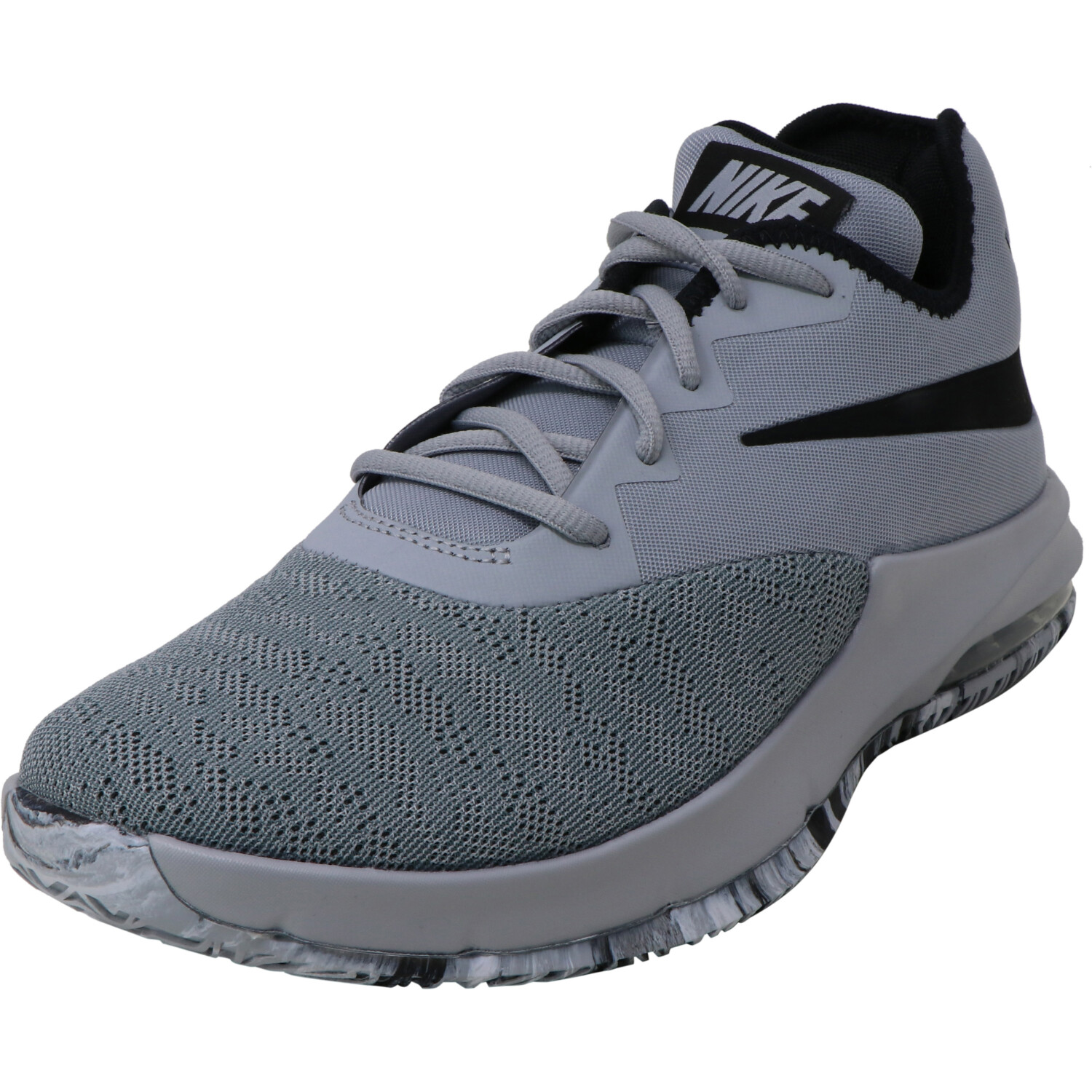 Nike Air Max Infuriate 3 Low Wolf Grey / Black Cool Ankle-High Mesh Basketball - 9.5M 8M