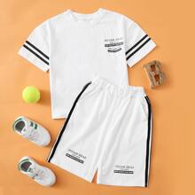 Toddler Boys Side Striped Letter Graphic Tee & Pants