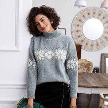 Strick Pullover mit hohem Kragen und Geo Muster