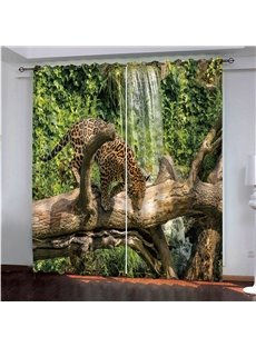 Modern Blackout Custom Living Room 3D Animal Print Curtains Thick Polyester to Provide Privacy with A Leopard on the Branch Waterfall Design to Provid