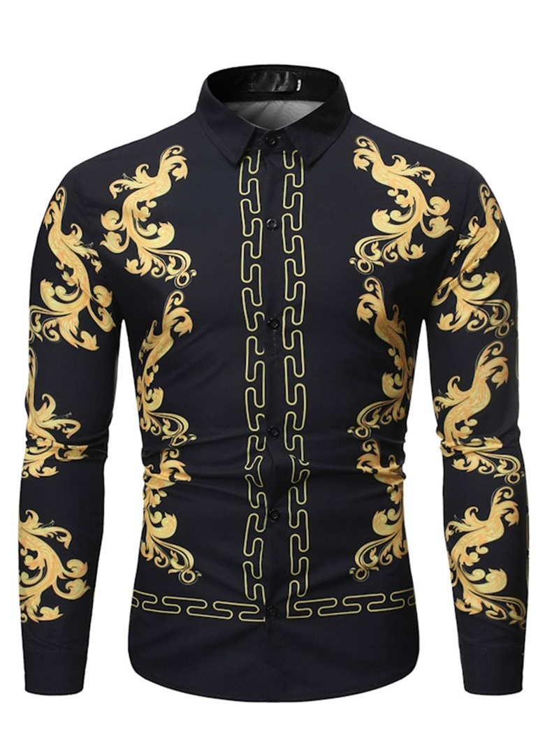 Ericdress Lapel Color Block Casual Slim Mens Shirt