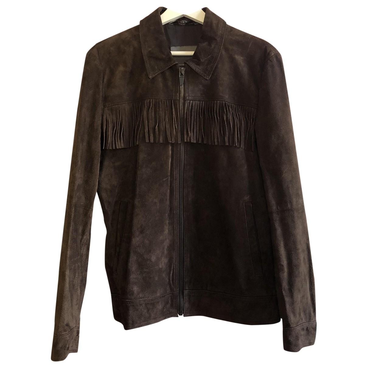 Zara - Vestes.Blousons   pour homme en cuir - marron