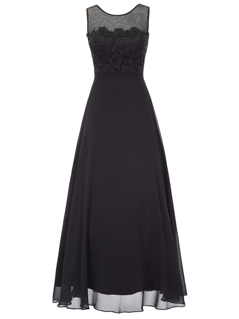 Ericdress Pretty A Line Applique Chiffon Ankle Length Prom Dress