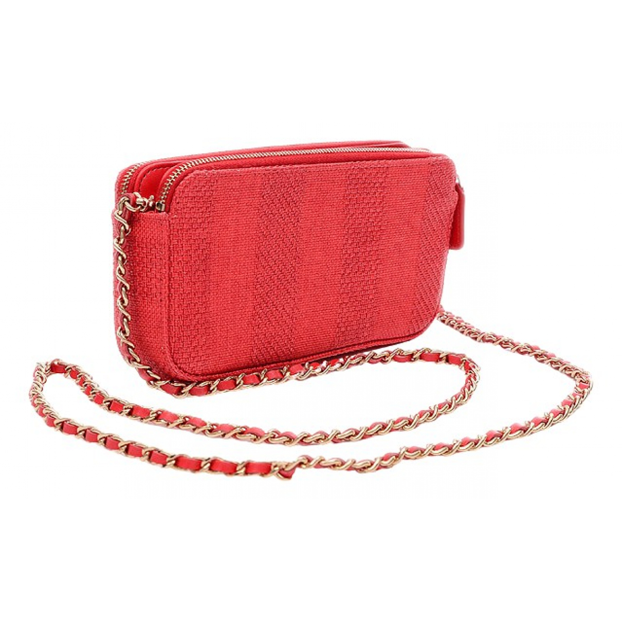 Chanel Deauville Clutch in  Rot Leinen