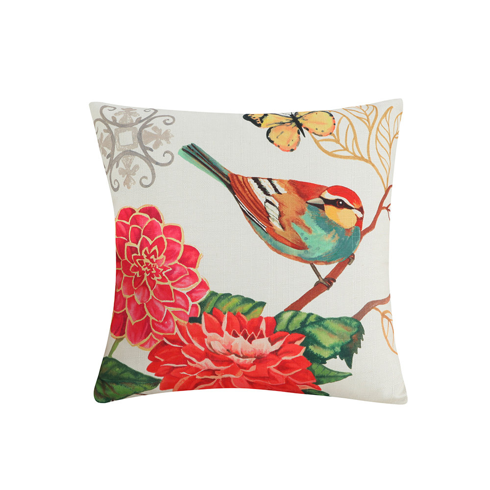 Cotton Linen Colorful Painting Birds Cushion Cover Car Decorative Throw Pillow Case