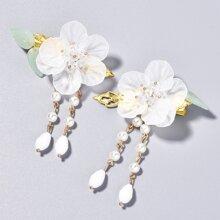 2 Stuecke Haarklammer mit Blumen Dekor