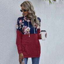 Gespleites Sweatshirt mit Blumen Muster und Kordelzug