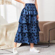 Elastic Waist Polka Dot Layered Skirt