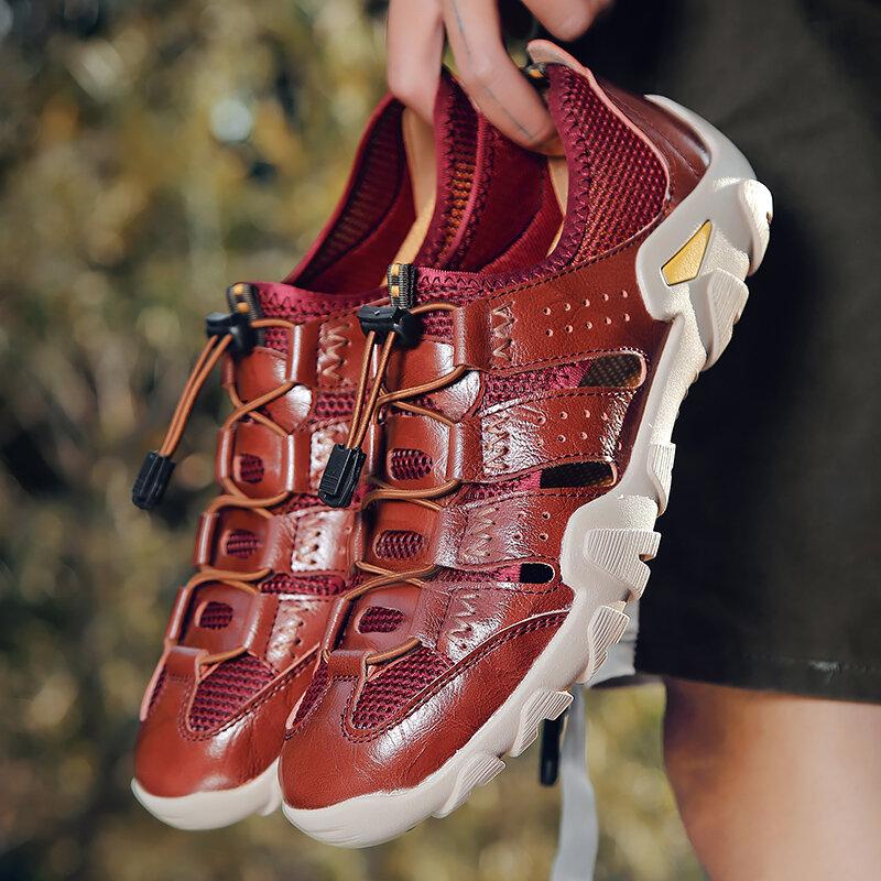 Men Cow Leather Non Slip Elastic Lace Soft Sole Casual Sandals
