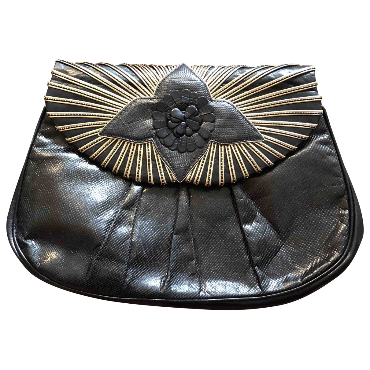 Non Signé / Unsigned \N Black Exotic leathers Clutch bag for Women \N