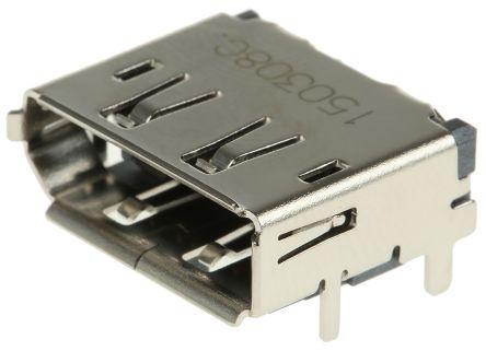 Molex , DisplayPort, 47272, 20 Way, 2 Row, Right Angle PCB Socket