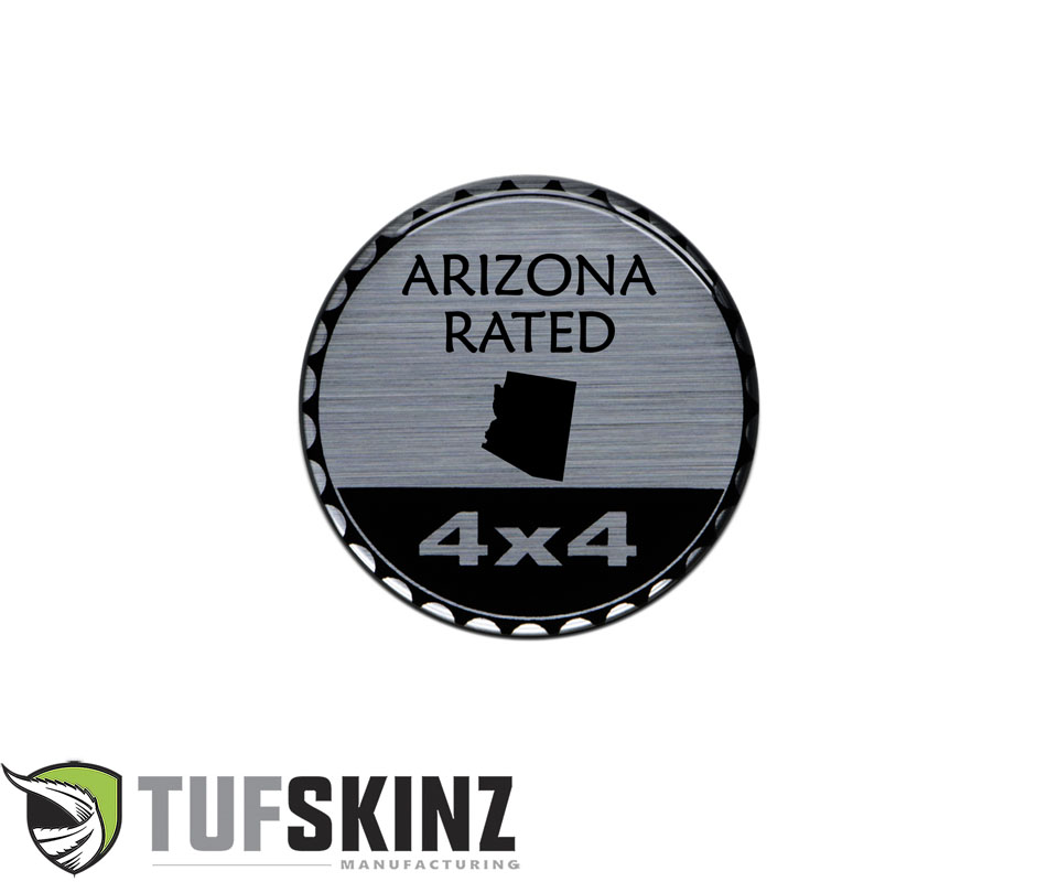 Tufskinz JEX059-DUM-100-G Rated Badge Fits Jeep 1 Piece Kit in Brushed Silver Arizona Rated
