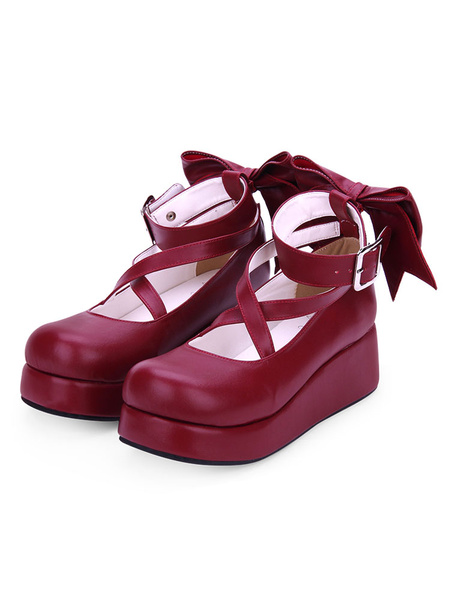 Milanoo Sweet Lolita Shoes Bow Strappy Burgundy Platform Lolita Footwear