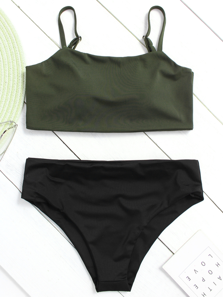 Yoins Green Basic Square Neck High-waist Bikini Set