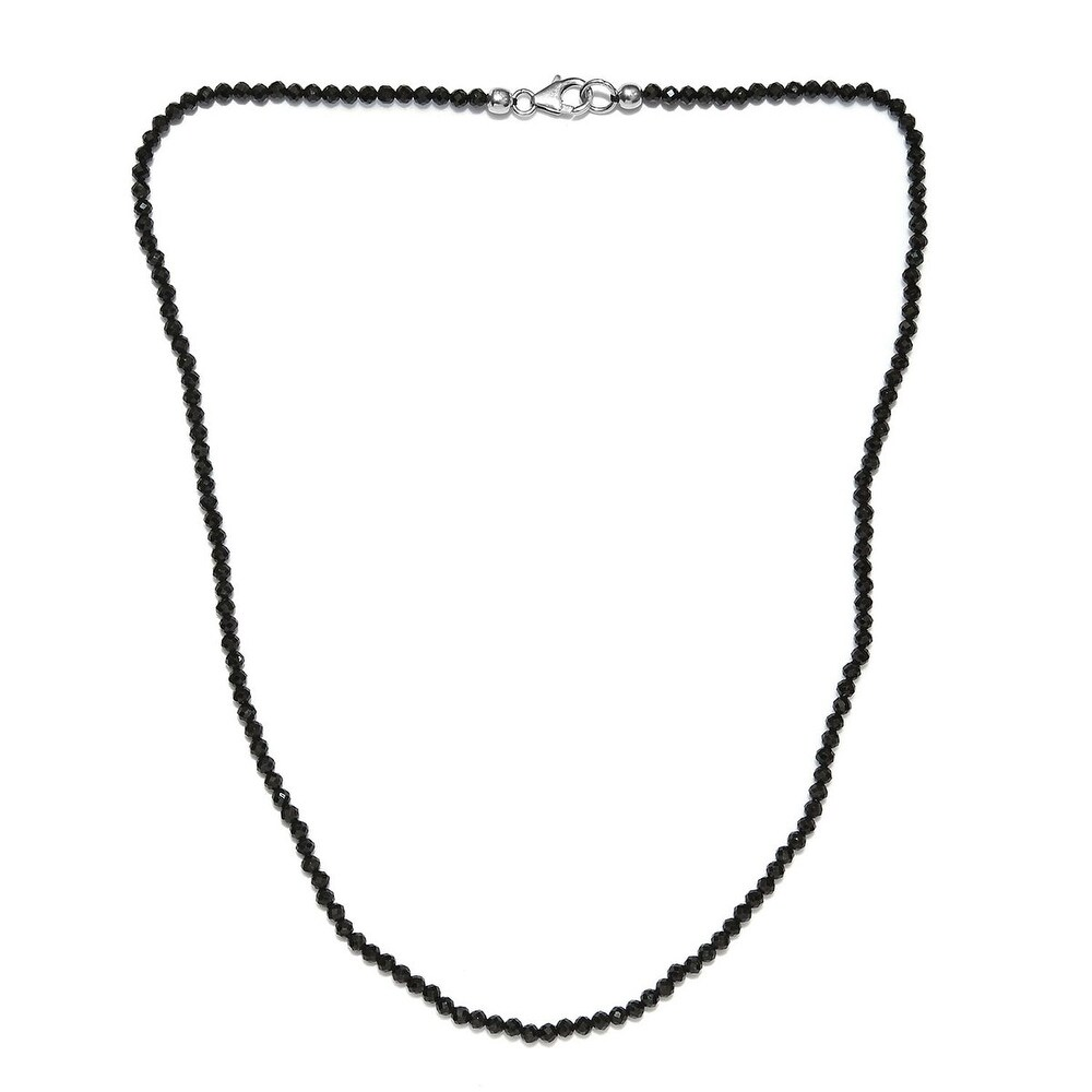 925 Sterling Silver Black Spinel Necklace 18 Inch - Size 18'' (White - Spinel - Black - Black - Size 18'')