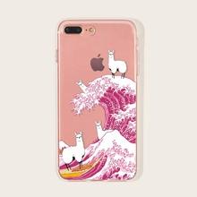 1 Stueck iPhone Huelle mit Surf & Alpaka Muster