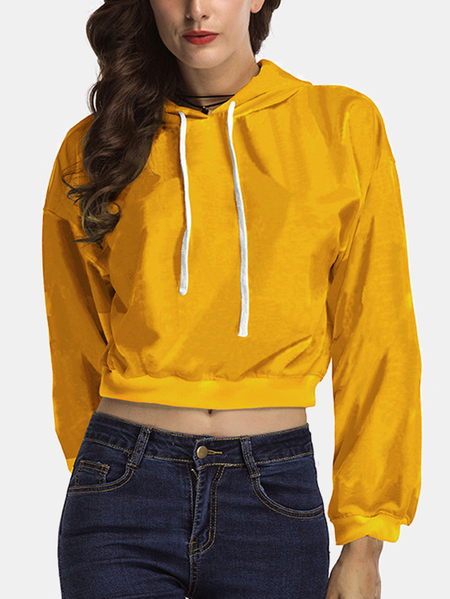 Yoins Active Cut Out Hooded Design Sports Hoodies in Yellow