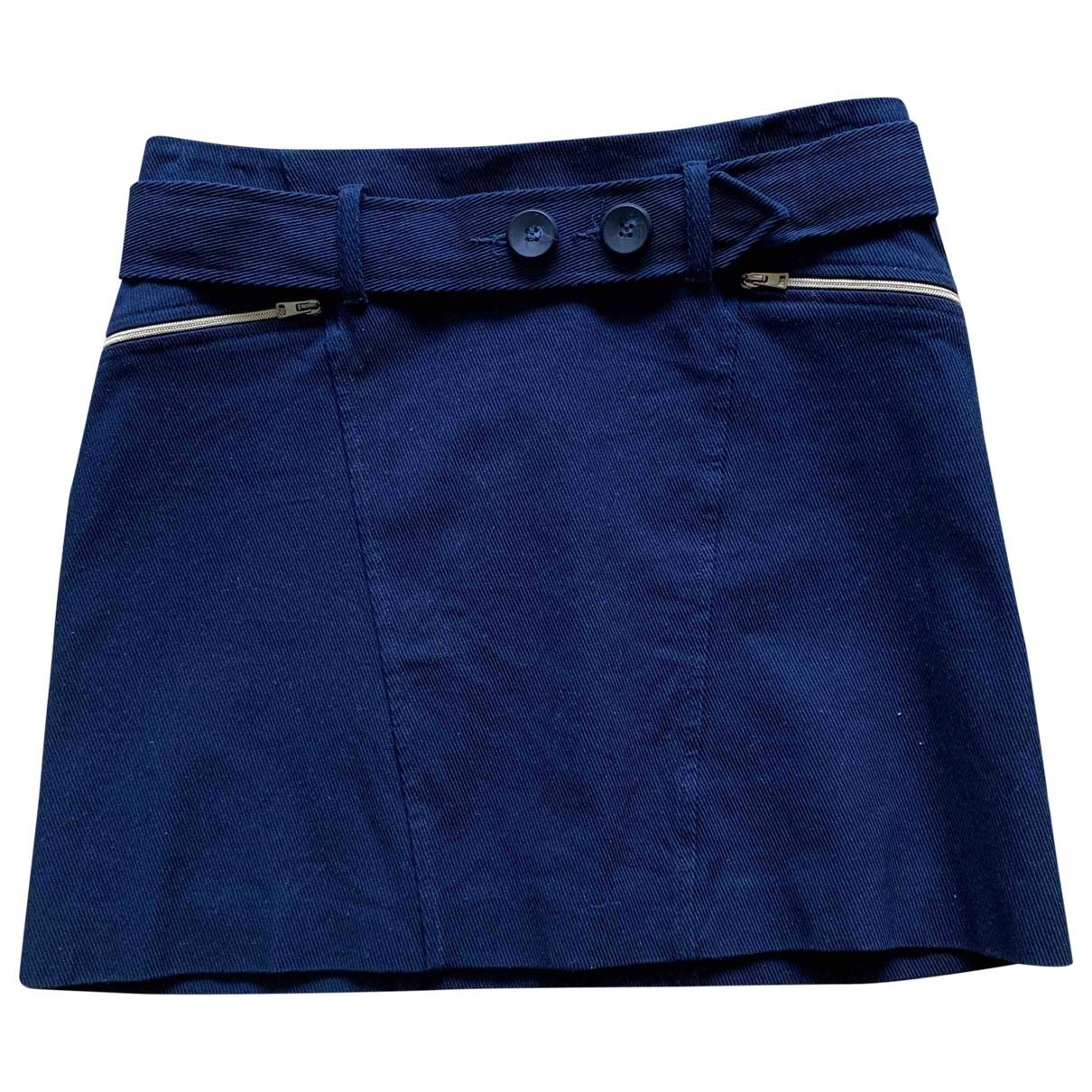 Tara Jarmon \N Blue Cotton - elasthane skirt for Women 36 FR