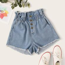 Plus Frayed High-Rise Paperbag Denim Shorts