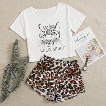 Conjunto de pijama con estampado de letra