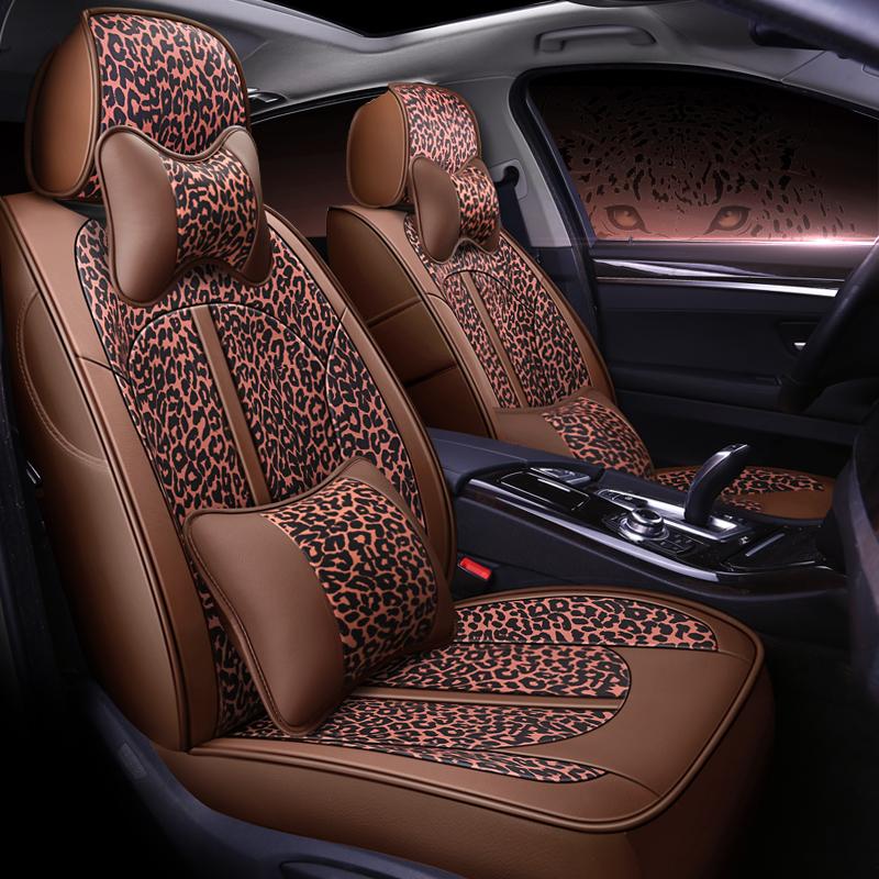Luxury Leopard Pattern Modern Style PU Leather Custom Car Seat Cover