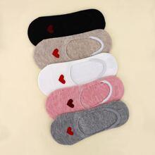 5 Paare Socken mit Herzen Muster