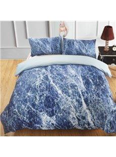 Navy Marbling Design Printing Polyester 3-Piece Bedding Sets/Duvet Cover