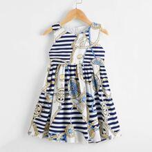 Toddler Girls Rudder & Striped A-line Dress