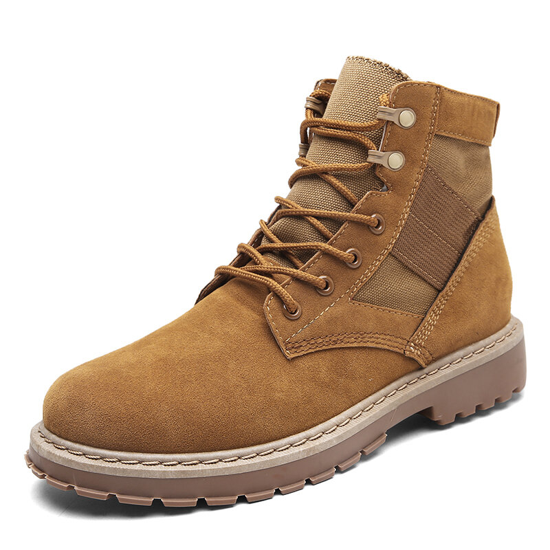 Men Round Toe Wide Fit Slip Resistant Casual Tooling Boots