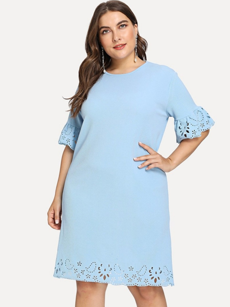 Ericdress Plus Size Hollow Half Sleeve Round Neck Pullover Dress