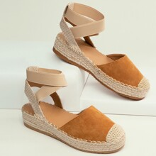 Closed Toe Ankle Strap Espadrille Flats