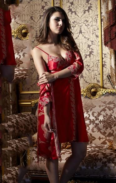 High Quality Embroidery Sexy Red Silky Sleepwear