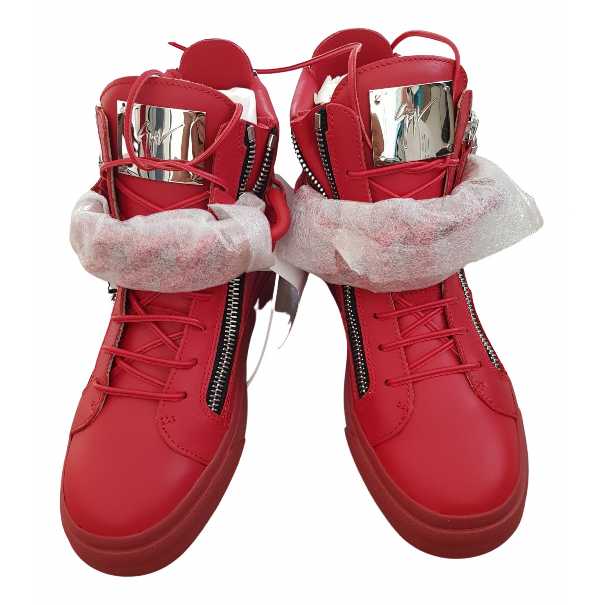 Giuseppe Zanotti \N Red Leather Trainers for Men 41 EU