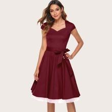 Dressystar Contrast Hem Belted Fit & Flare Dress
