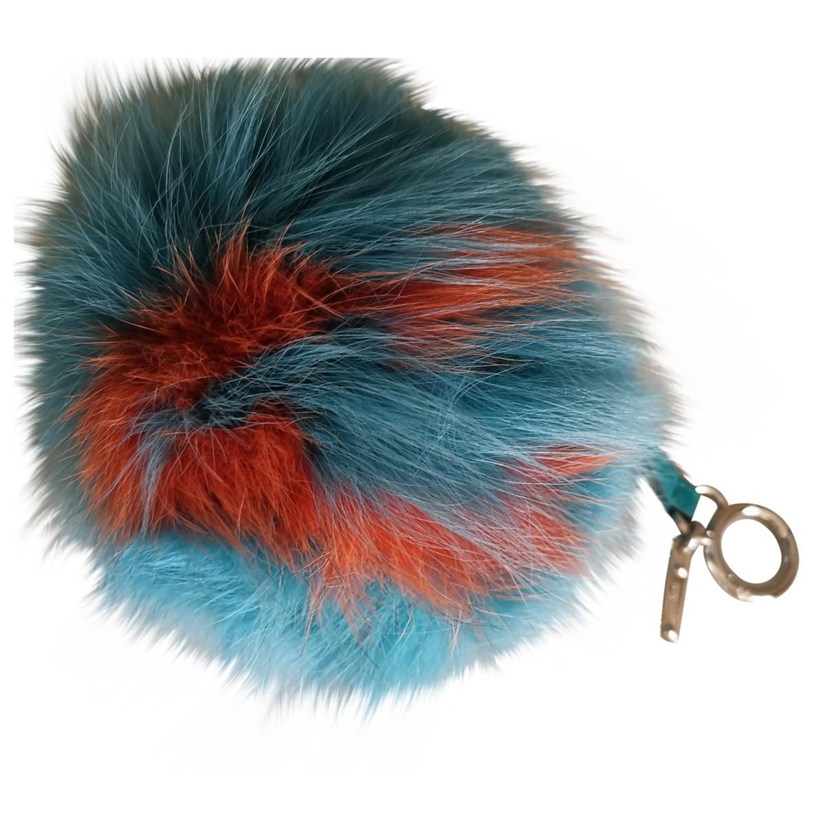 Fendi - Bijoux de sac Pompon pour femme en renard - turquoise