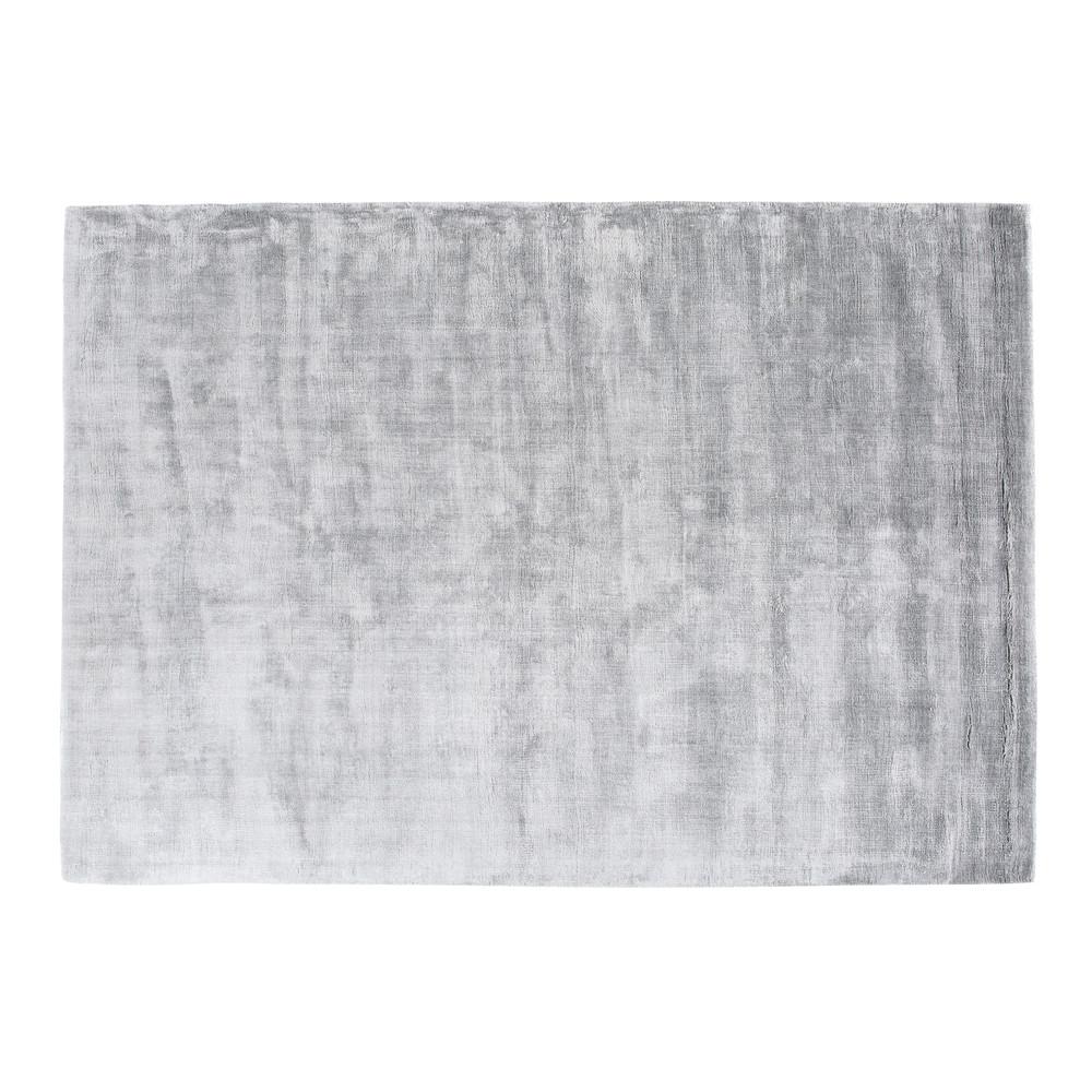 Grauer getufteter Teppich 140x200