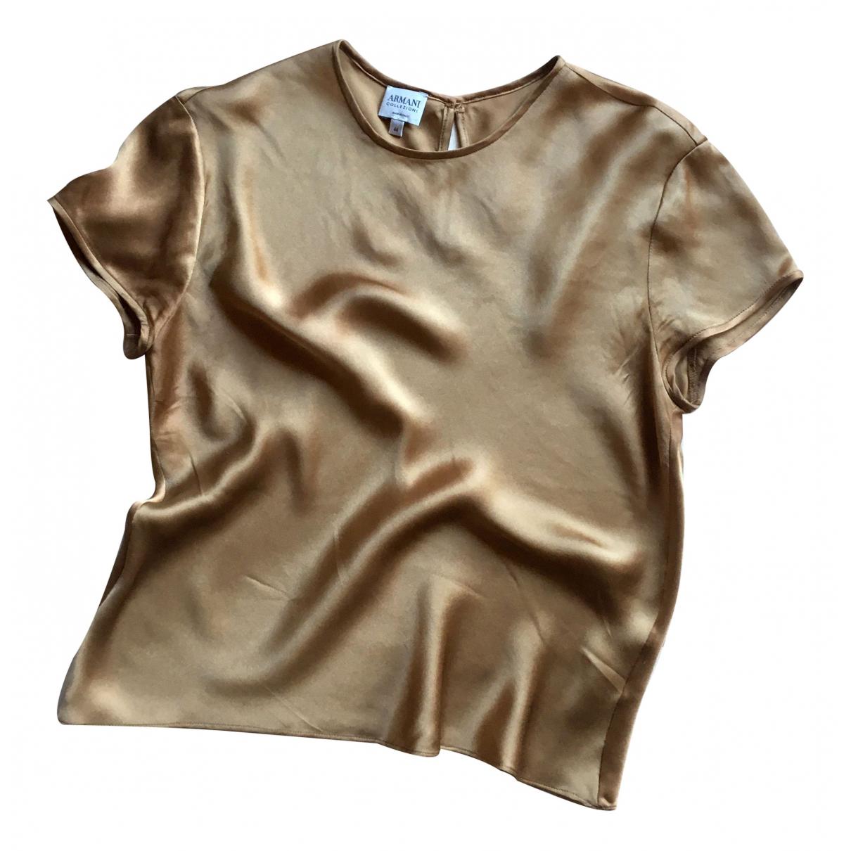 Armani Collezioni N Gold Silk  top for Women 44 IT