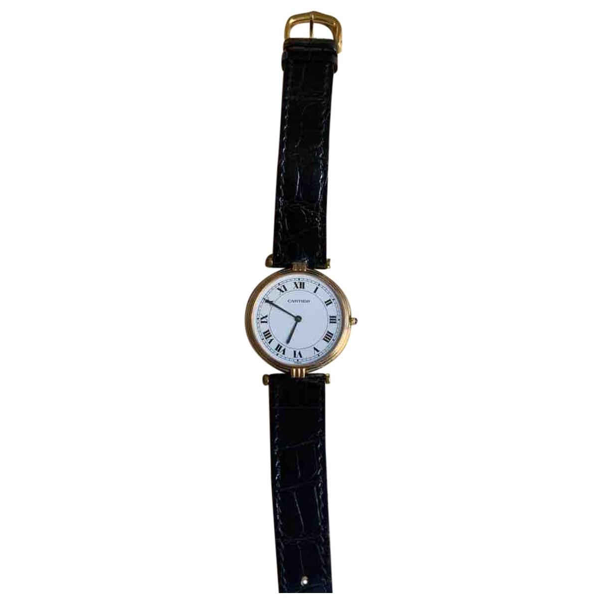 Cartier \N Uhr in  Schwarz Gelbgold
