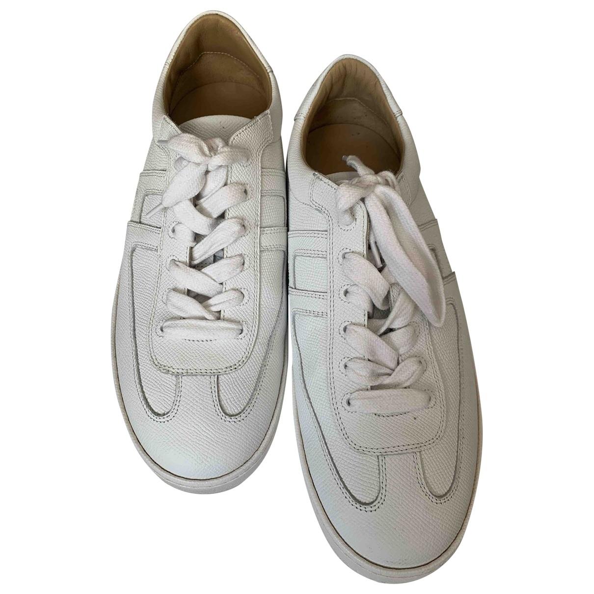 Hermes - Baskets Goal pour homme en cuir - blanc