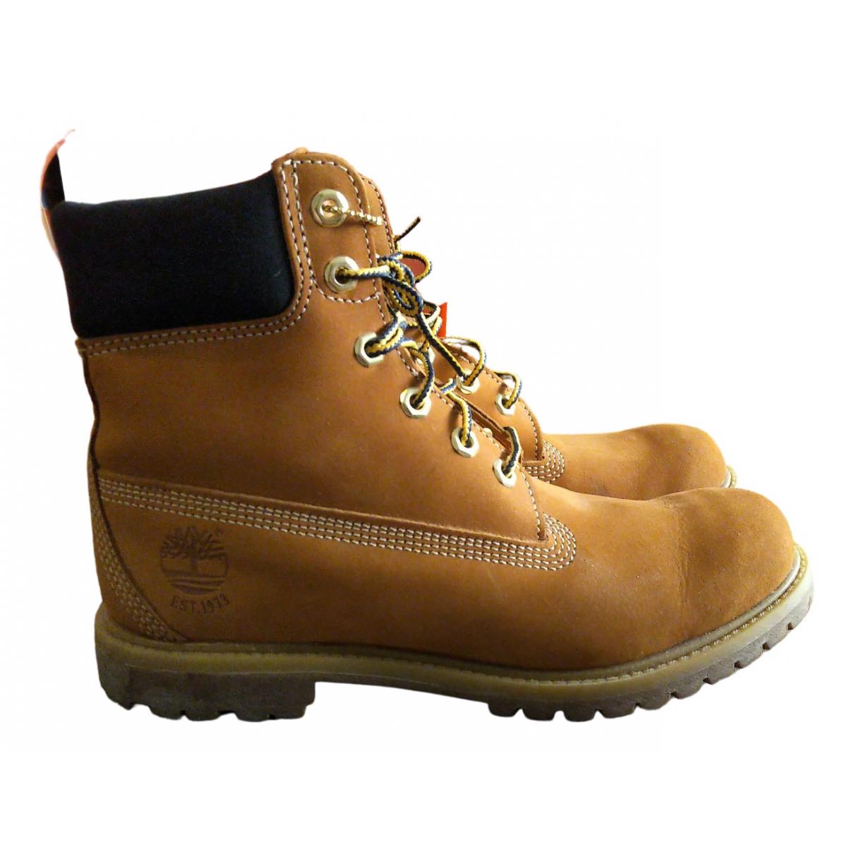 Timberland - Boots   pour femme en cuir - camel
