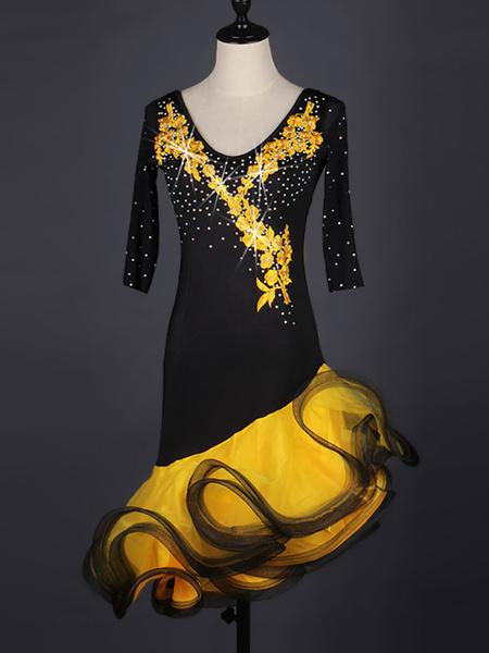 Milanoo Dance Costumes Latin Dancer Dresses Two Tone Organza Beading Ruffle Women's Dancing Clothing Hallloween