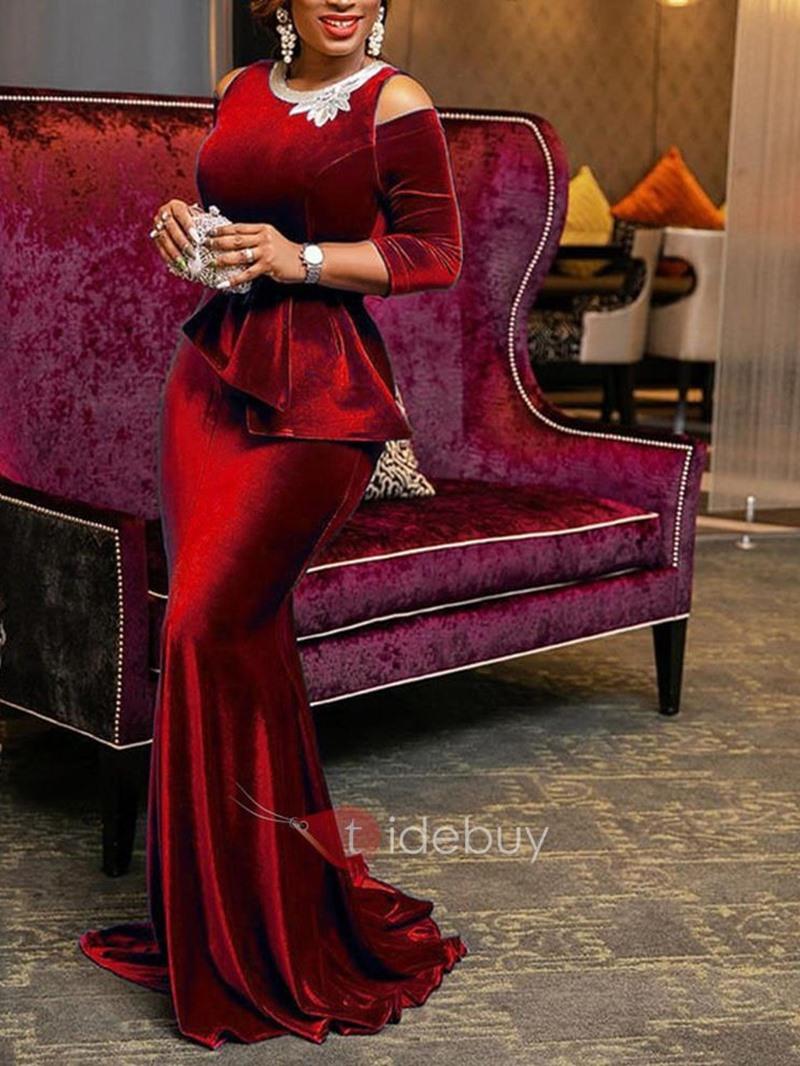 Ericdress Floor-Length Cold Shoulder Plain Bodycon Party Dress