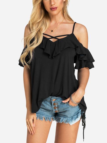 Yoins  Black Backless Design V-neck Short Sleeves T-shirts
