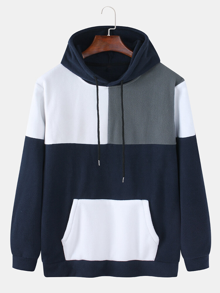 Mens Fleece Colorblock Patchwork Casual Pouch Pocket Drawstring Hoodies