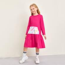Girls Contrast Patch Pocket Ruffle Hem Dress