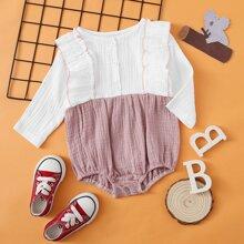 Baby Girl Ruffle Trim Colorblock Bodysuit