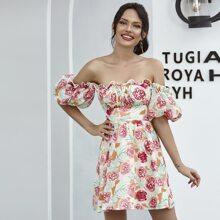 Double Crazy Schulterfreies Kleid mit Bischofaermeln und Blumen Muster