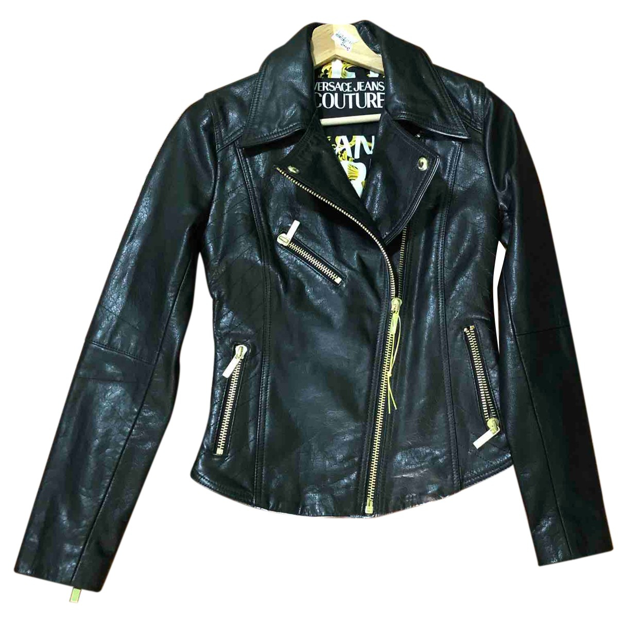 Versace Jeans \N Lederjacke in  Schwarz Leder