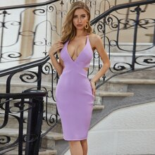 Sesidy Plunging Neck Backless Bandage Dress