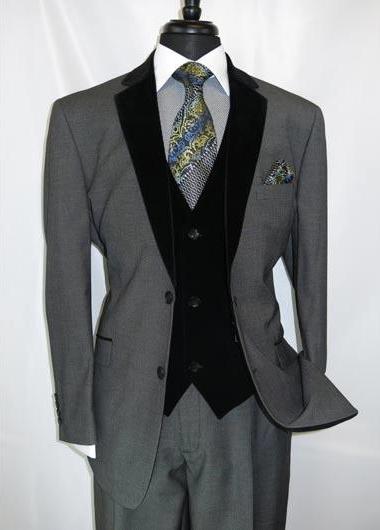Men's Notch Velvet Lapel Single Breasted Two Button Grey Vents Suit
